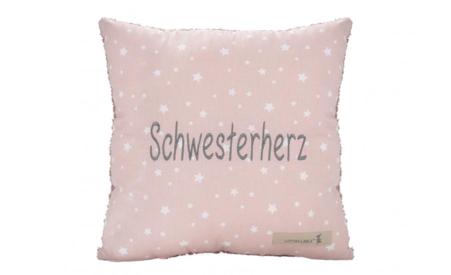 BOTSCHAFTSKISSEN - BAUMWOLL/FROTTEE KISSEN SCHWESTERHERZ