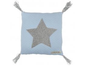 Kissen Jersey mit Applikation Stern pastell blau
