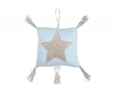 Spieluhr Jersey mit Appl. Stern pastell blau